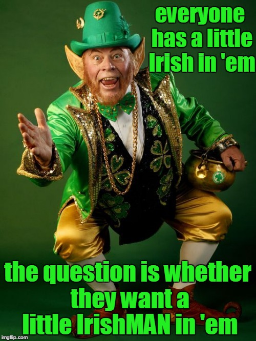 everyone has a little Irish in 'em the question is whether they want a little IrishMAN in 'em | made w/ Imgflip meme maker