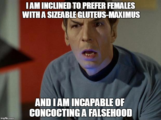 I AM INCLINED TO PREFER FEMALES WITH A SIZEABLE GLUTEUS-MAXIMUS AND I AM INCAPABLE OF CONCOCTING A FALSEHOOD | made w/ Imgflip meme maker