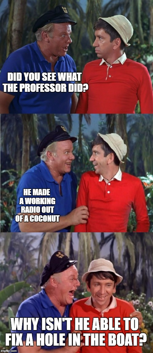 Gilligan Bad Pun | DID YOU SEE WHAT THE PROFESSOR DID? HE MADE A WORKING RADIO OUT OF A COCONUT WHY ISN'T HE ABLE TO FIX A HOLE IN THE BOAT? | image tagged in gilligan bad pun | made w/ Imgflip meme maker