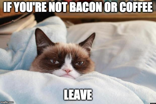 And don't come bacon. | IF YOU'RE NOT BACON OR COFFEE LEAVE | image tagged in grumpy morning,bacon,coffee,leave | made w/ Imgflip meme maker