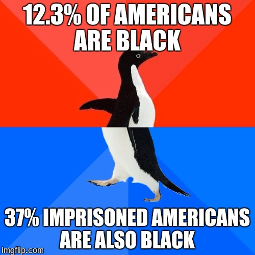 Socially Awesome Awkward Penguin Meme | 12.3% OF AMERICANS ARE BLACK 37% IMPRISONED AMERICANS ARE ALSO BLACK | image tagged in memes,socially awesome awkward penguin | made w/ Imgflip meme maker