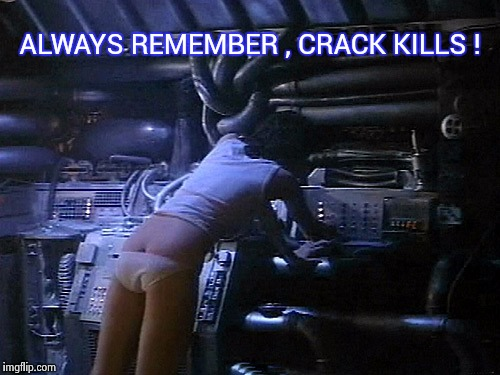 Ripley's butt | ALWAYS REMEMBER , CRACK KILLS ! | image tagged in ripley's butt | made w/ Imgflip meme maker