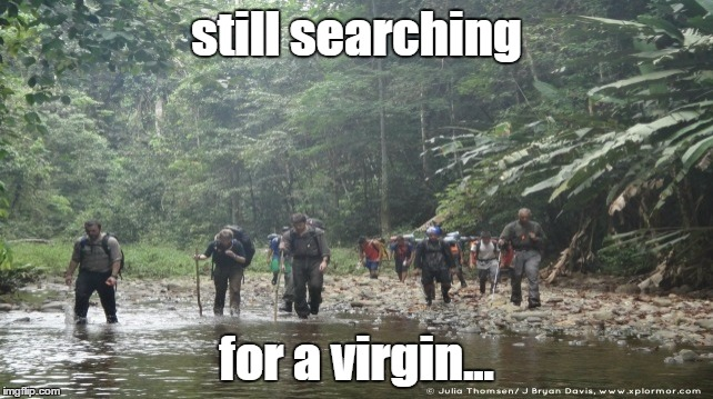 still searching for a virgin... | made w/ Imgflip meme maker