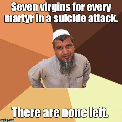 1awhcf.jpg | Seven virgins for every martyr in a suicide attack. There are none left. | image tagged in 1awhcfjpg | made w/ Imgflip meme maker