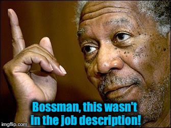 Bossman, this wasn't in the job description! | made w/ Imgflip meme maker