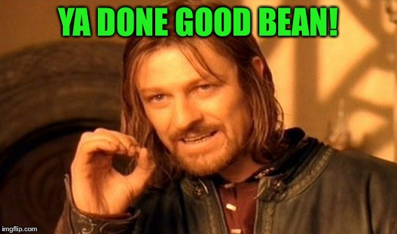 One Does Not Simply Meme | YA DONE GOOD BEAN! | image tagged in memes,one does not simply | made w/ Imgflip meme maker
