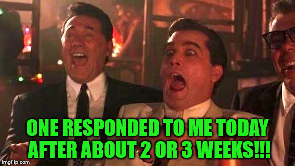 Goodfellas Laughing | ONE RESPONDED TO ME TODAY AFTER ABOUT 2 OR 3 WEEKS!!! | image tagged in goodfellas laughing | made w/ Imgflip meme maker