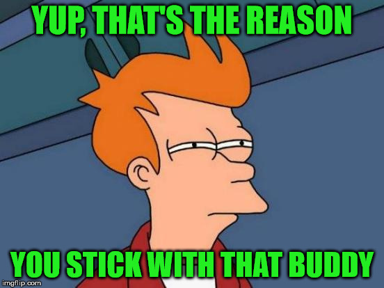 Futurama Fry Meme | YUP, THAT'S THE REASON YOU STICK WITH THAT BUDDY | image tagged in memes,futurama fry | made w/ Imgflip meme maker