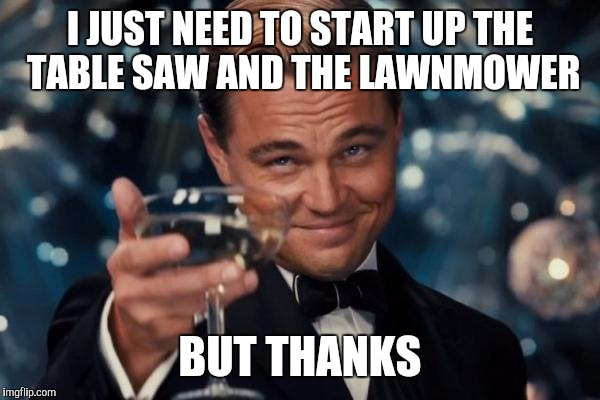 Leonardo Dicaprio Cheers Meme | I JUST NEED TO START UP THE TABLE SAW AND THE LAWNMOWER BUT THANKS | image tagged in memes,leonardo dicaprio cheers | made w/ Imgflip meme maker