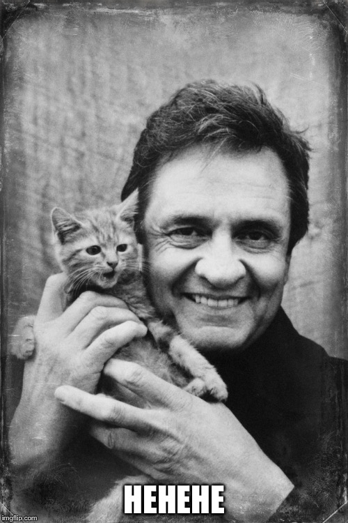 Johnny Cash Cat | HEHEHE | image tagged in johnny cash cat | made w/ Imgflip meme maker