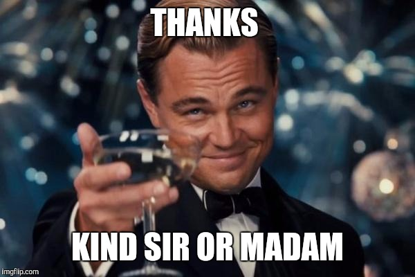 Leonardo Dicaprio Cheers Meme | THANKS KIND SIR OR MADAM | image tagged in memes,leonardo dicaprio cheers | made w/ Imgflip meme maker