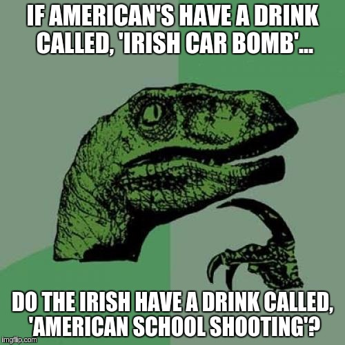 Philosoraptor Meme | IF AMERICAN'S HAVE A DRINK CALLED, 'IRISH CAR BOMB'... DO THE IRISH HAVE A DRINK CALLED, 'AMERICAN SCHOOL SHOOTING'? | image tagged in memes,philosoraptor | made w/ Imgflip meme maker
