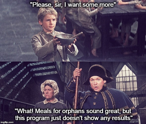 "Mick Mulvaney in the role of Mr. Limbkins in ""Oliver Twist""  
