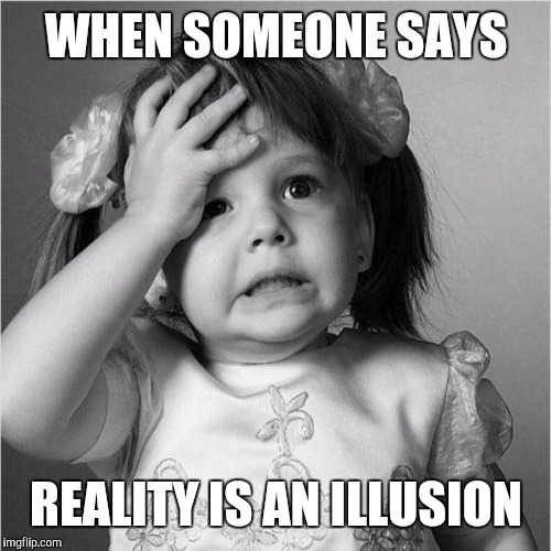 WHEN SOMEONE SAYS REALITY IS AN ILLUSION | image tagged in reality | made w/ Imgflip meme maker