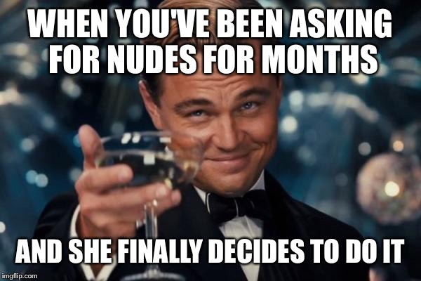 Leonardo Dicaprio Cheers Meme | WHEN YOU'VE BEEN ASKING  FOR NUDES FOR MONTHS AND SHE FINALLY DECIDES TO DO IT | image tagged in memes,leonardo dicaprio cheers | made w/ Imgflip meme maker