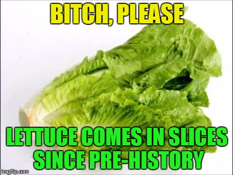 B**CH, PLEASE LETTUCE COMES IN SLICES SINCE PRE-HISTORY | made w/ Imgflip meme maker