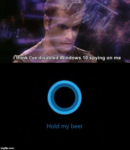Cortana: Hold my beer | image tagged in humor,computer,windows 10,cortana | made w/ Imgflip meme maker