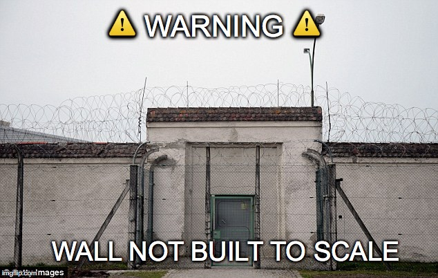Pass the model glue! | ⚠️ WARNING ⚠️ WALL NOT BUILT TO SCALE | image tagged in janey mack meme,flirty meme,funny meme,warning,wall not built to scale,prison | made w/ Imgflip meme maker