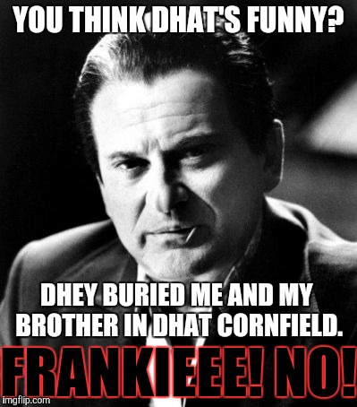 Joe Pesci sez,,, | YOU THINK DHAT'S FUNNY? DHEY BURIED ME AND MY BROTHER IN DHAT CORNFIELD. FRANKIEEE! NO! | image tagged in joe pesci sez | made w/ Imgflip meme maker