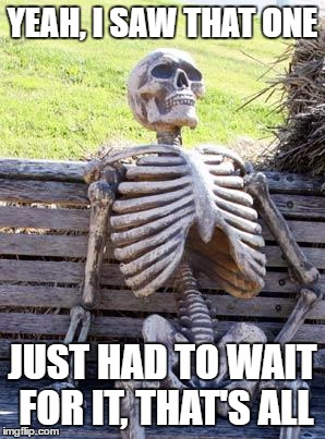 Waiting Skeleton Meme | YEAH, I SAW THAT ONE JUST HAD TO WAIT FOR IT, THAT'S ALL | image tagged in memes,waiting skeleton | made w/ Imgflip meme maker
