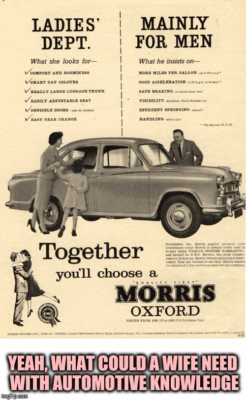 Nothing like old sexist ads. Old Ad Week | YEAH, WHAT COULD A WIFE NEED WITH AUTOMOTIVE KNOWLEDGE | image tagged in old ad week,swiggys-back,sexist cat ads | made w/ Imgflip meme maker
