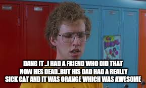 DANG IT ..I HAD A FRIEND WHO DID THAT NOW HES DEAD..BUT HIS DAD HAD A REALLY SICK CAT AND IT WAS ORANGE WHICH WAS AWESOME | made w/ Imgflip meme maker