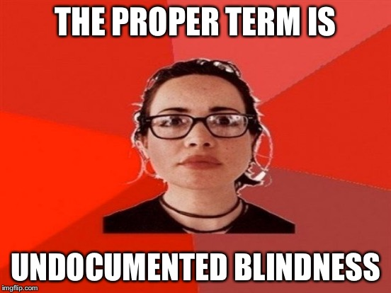 THE PROPER TERM IS UNDOCUMENTED BLINDNESS | made w/ Imgflip meme maker