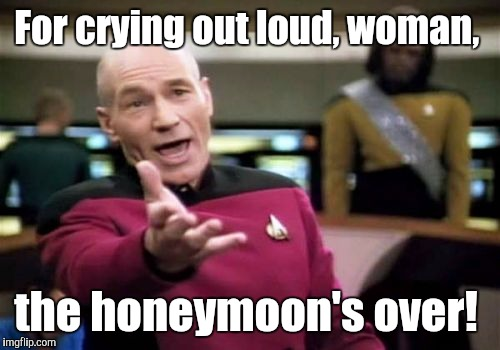 Picard Wtf Meme | For crying out loud, woman, the honeymoon's over! | image tagged in memes,picard wtf | made w/ Imgflip meme maker