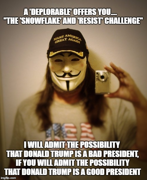 "Mr. Silent Majority, often called a 'Deplorable', offers a challenge to 'Snowflakes' and members of the 'Resist' Movement |  A 'DEPLORABLE' OFFERS YOU....    ""THE 'SNOWFLAKE' AND 'RESIST' CHALLENGE""; I WILL ADMIT THE POSSIBILITY THAT DONALD TRUMP IS A BAD PRESIDENT, IF YOU WILL ADMIT THE POSSIBILITY THAT DONALD TRUMP IS A GOOD PRESIDENT 