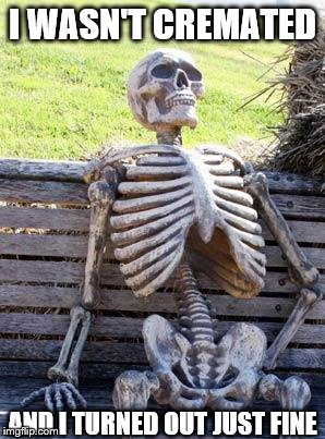 Waiting Skeleton Meme | I WASN'T CREMATED AND I TURNED OUT JUST FINE | image tagged in memes,waiting skeleton | made w/ Imgflip meme maker