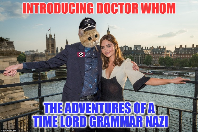 And his gorgeous yet platonic companion |  INTRODUCING DOCTOR WHOM; THE ADVENTURES OF A TIME LORD GRAMMAR NAZI | image tagged in memes,grammar nazi,grammar nazi cat,doctor who | made w/ Imgflip meme maker