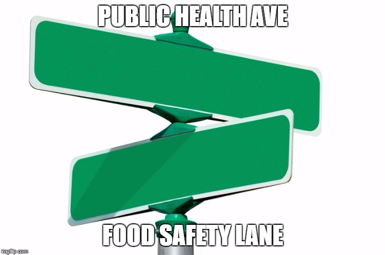Blank Street Signs | PUBLIC HEALTH AVE FOOD SAFETY LANE | image tagged in blank street signs | made w/ Imgflip meme maker