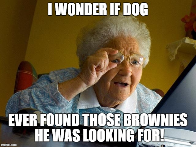 Grandma Finds The Internet Meme | I WONDER IF DOG EVER FOUND THOSE BROWNIES HE WAS LOOKING FOR! | image tagged in memes,grandma finds the internet | made w/ Imgflip meme maker
