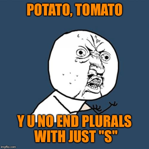 "Y U No Meme | POTATO, TOMATO Y U NO END PLURALS WITH JUST ""S"" 