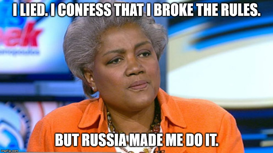 Donna Brazile |  I LIED. I CONFESS THAT I BROKE THE RULES. BUT RUSSIA MADE ME DO IT. | image tagged in donna brazile | made w/ Imgflip meme maker