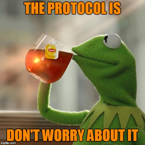 But Thats None Of My Business Meme | THE PROTOCOL IS DON'T WORRY ABOUT IT | image tagged in memes,but thats none of my business,kermit the frog | made w/ Imgflip meme maker