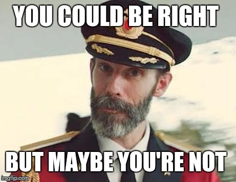 Captain Obvious | YOU COULD BE RIGHT BUT MAYBE YOU'RE NOT | image tagged in captain obvious | made w/ Imgflip meme maker