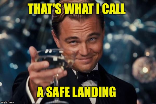 Leonardo Dicaprio Cheers Meme | THAT'S WHAT I CALL A SAFE LANDING | image tagged in memes,leonardo dicaprio cheers | made w/ Imgflip meme maker