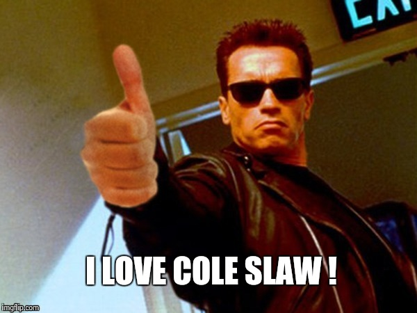 Arnold likes it | I LOVE COLE SLAW ! | image tagged in arnold likes it | made w/ Imgflip meme maker
