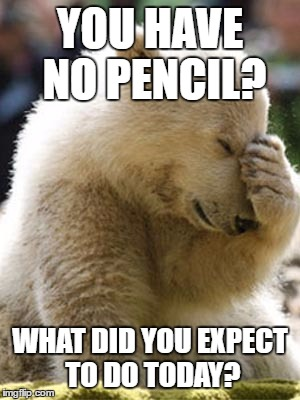 Facepalm Bear |  YOU HAVE NO PENCIL? WHAT DID YOU EXPECT TO DO TODAY? | image tagged in memes,facepalm bear | made w/ Imgflip meme maker