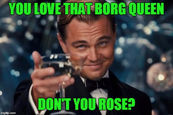 Leonardo Dicaprio Cheers Meme | YOU LOVE THAT BORG QUEEN DON'T YOU ROSE? | image tagged in memes,leonardo dicaprio cheers | made w/ Imgflip meme maker
