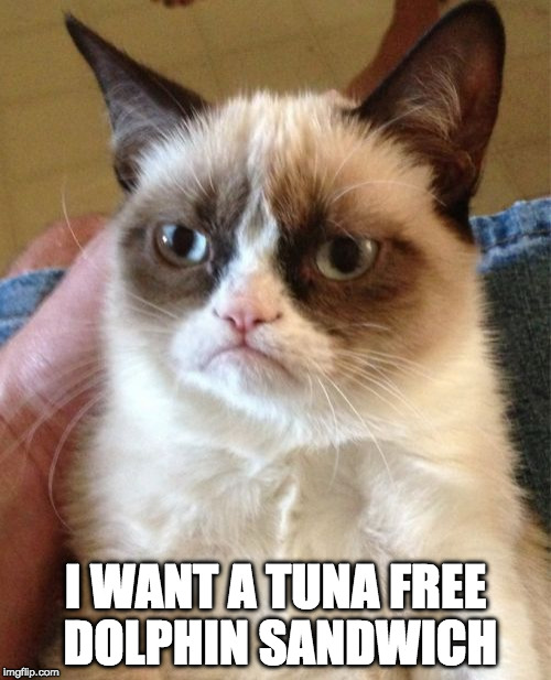 The tuna of the sea! | I WANT A TUNA FREE DOLPHIN SANDWICH | image tagged in memes,grumpy cat,tuna,dolphin,chicken of the sea,bacon | made w/ Imgflip meme maker
