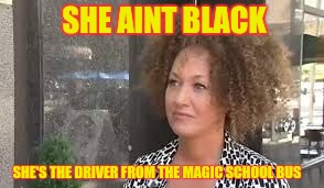 Rachel Dolezal: They Way She Trippin | SHE AINT BLACK SHE'S THE DRIVER FROM THE MAGIC SCHOOL BUS | image tagged in rachel dolezal,school bus,trippin' | made w/ Imgflip meme maker