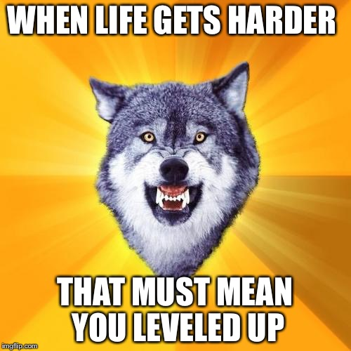 Courage Wolf Meme | WHEN LIFE GETS HARDER THAT MUST MEAN YOU LEVELED UP | image tagged in memes,courage wolf | made w/ Imgflip meme maker