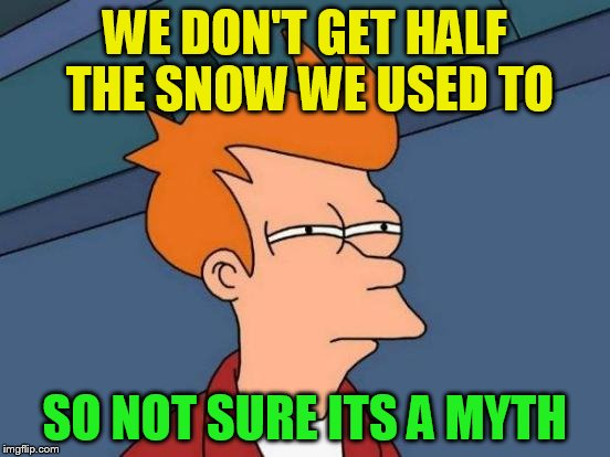 Futurama Fry Meme | WE DON'T GET HALF THE SNOW WE USED TO SO NOT SURE ITS A MYTH | image tagged in memes,futurama fry | made w/ Imgflip meme maker