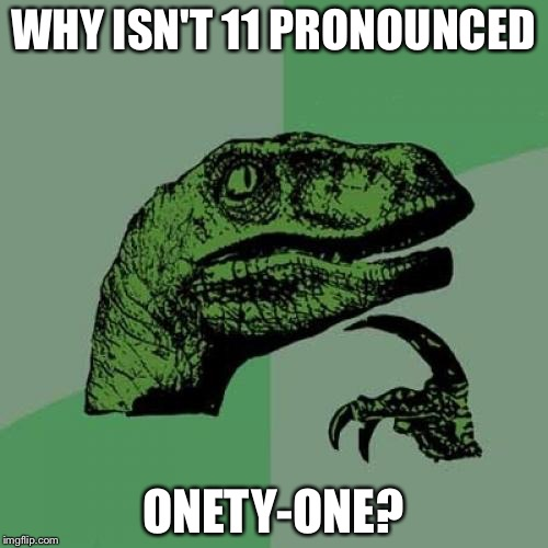 Philosoraptor Meme | WHY ISN'T 11 PRONOUNCED ONETY-ONE? | image tagged in memes,philosoraptor | made w/ Imgflip meme maker