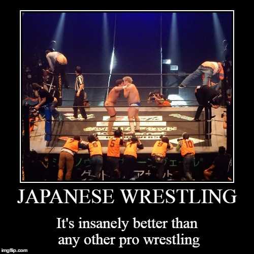 Danshoku Dino versus Joey Ryan, and some organic post padding | JAPANESE WRESTLING | It's insanely better than any other pro wrestling | image tagged in funny,demotivationals,pro wrestling,japan,memes | made w/ Imgflip demotivational maker