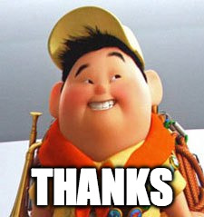 Russell | THANKS | image tagged in russell | made w/ Imgflip meme maker
