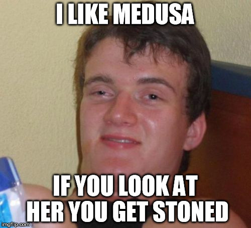 10 Guy Meme | I LIKE MEDUSA IF YOU LOOK AT HER YOU GET STONED | image tagged in memes,10 guy | made w/ Imgflip meme maker