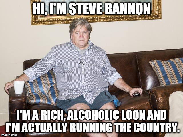 bannon |  HI, I'M STEVE BANNON; I'M A RICH, ALCOHOLIC LOON AND I'M ACTUALLY RUNNING THE COUNTRY. | image tagged in bannon | made w/ Imgflip meme maker